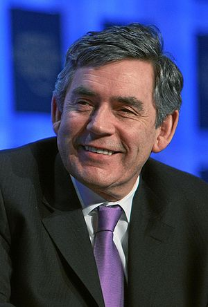 British Prime Minister Gordon Brown captured d...