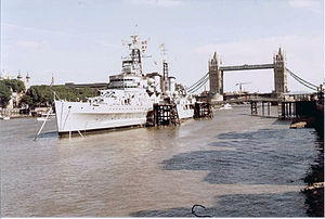 Preserved Royal Navy cruiser HMS Belfast in th...