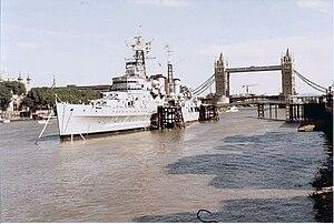 Preserved Royal Navy cruiser HMS Belfast in th...