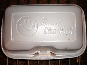 A styrofoam food container.