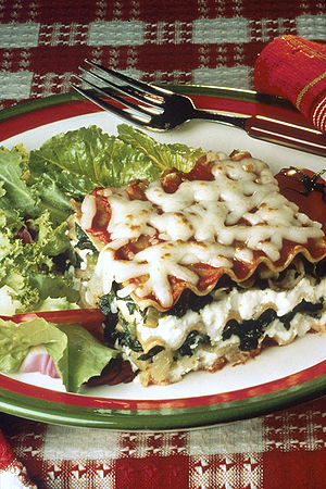 The lasagna is made with spinach (as a substit...