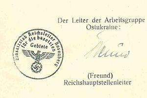 Deutsch: Stempel der Leitung der Arbeitsgruppe...