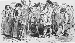 English: Don Quixote is knighted by the inn-ke...