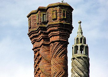 Thornbury Castle chimney detail: brick chimney...