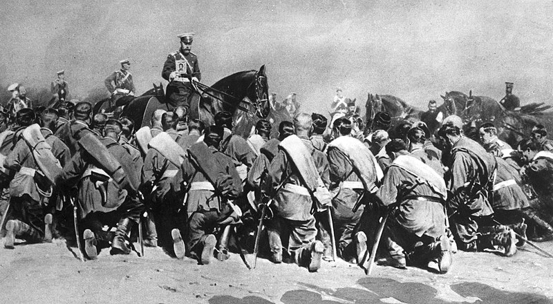Russian Tzar Nicholas II riding along his troops, WWI.