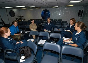 Women's Bible study aboard the USS John F. Ken...