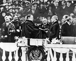 Woodrow Wilson takes the oath of office for hi...