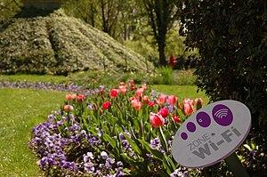 Français : Zone Wi-Fi dans le parc de Bercy, Paris