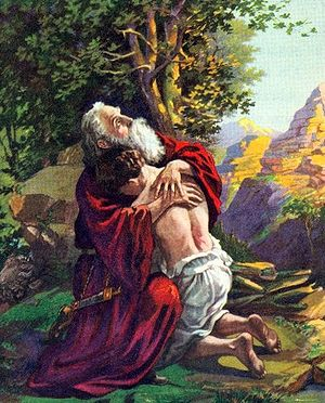 Abraham embraces his son Isaac after receiving...