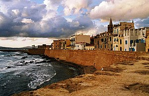 English: 16th century catalan city walls, Algh...