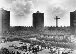 Hindenburg's burial at the Tannenberg Memorial