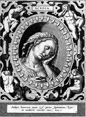 Acedia, engraving by Hieronymus Wierix, 16th c...