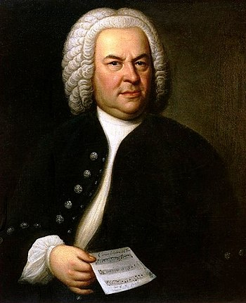 Johann Sebastian Bach (aged 61) in a portrait ...
