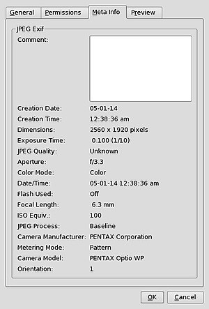 Konqueror screenshot showing Exif data