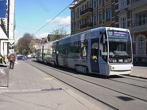 A tram operated by Oslo Sporvognsdrift, a subs...
