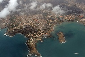 Aerial view of Praia, the capital city of Cape...