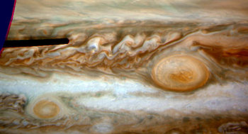 Deprojected map image of the Red Spot region o...
