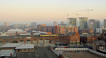 English: Salford dawn From room 602 of The Low...