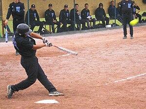 English: Right handed softball batter Dansk: H...