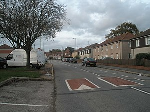 English: Speed bumps in Dunsbury Way