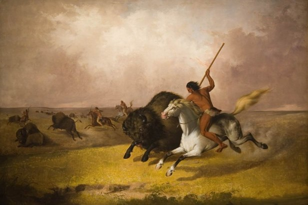 'Buffalo Hunt on the Southwestern Prairies', oil on canvas painting by John Mix Stanley, 1845, Smithsonian American Art Museum (Washington D. C.)