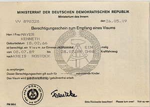 English: East German entry visa, incorrectly d...