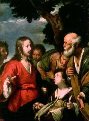Jesus feeding a crowd with 5 loaves of bread a...