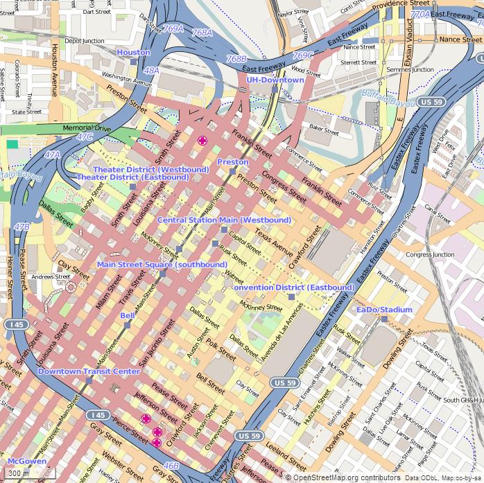Map Doentown Houston