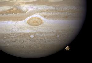English: Image of Jupiter and Ganymede