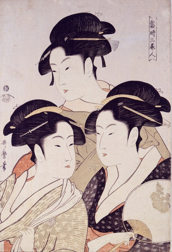 Kitagawa Utamaro - Toji san bijin (Three Beauties of the Present Day)From Bijin-ga (Pictures of Beautiful Women), published by Tsutaya Juzaburo - Google Art Project