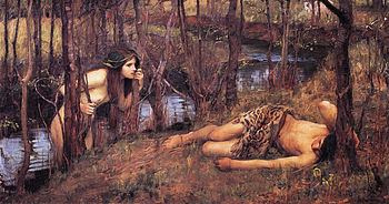 A Naiad by John William Waterhouse, 1893: a water nymph approaches the sleeping Hylas
