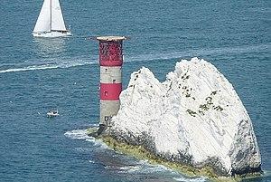 English: The Needles lighthouse Half of the se...