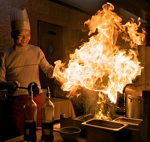 Chef cooking with fire!