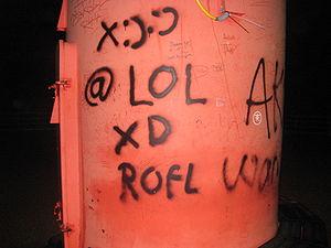Netspeak inspired graffiti (smilie :), @, lol,...