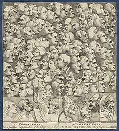 Diversos perfiles faciales como caricaturas, de William Hogarth .