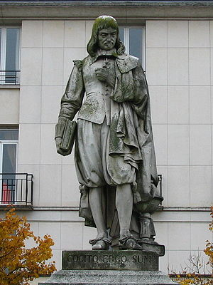 Statue of René Descartes with his famous state...