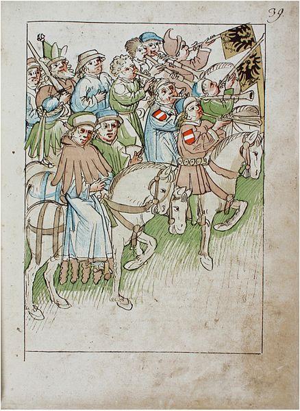 File:Konstanzer Richental Chronik Verleihung der goldenen Rose, Umzug durch die Stadt, Pfeifer und Posaunenbläser vor dem König 39r.jpg