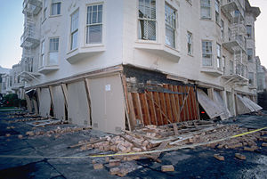photograph of a collapsed facade of a building...