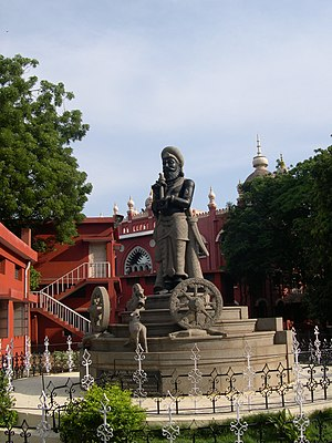 Statue of Manu Needhi Cholan in the premises o...