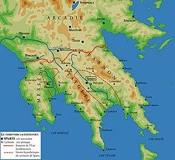 Ubicación de Esparta