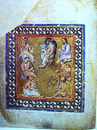 Miniatura di sette medici tratta dal Codex Aniciae Julianae (primi anni del VI secolo)