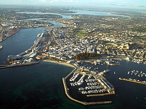 English: Fremantle and the Swan River viewed f...