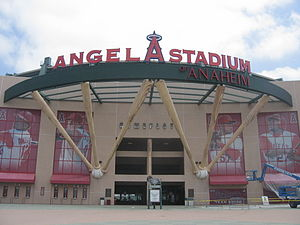 Angel Stadium of Anaheim's exteriors. Anaheim,...