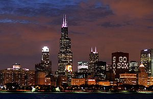 Part of the skyline of Chicago on the eve of a...