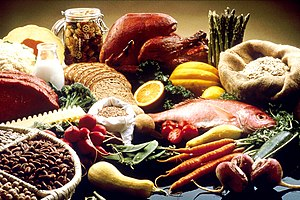 English: This image shows a display of healthy...