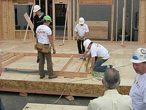Habitat For Humanity volunteers constructing a...