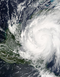 Hurricane Wilma at record intensity southeast of the Yucatán Peninsula on October 19, 2005