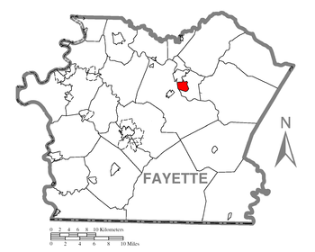 Map of Fayette County higlighting South Connel...