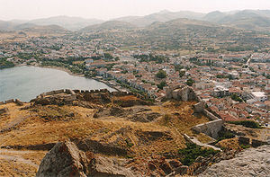 English: View on Mirina, main town Limnos isl,...