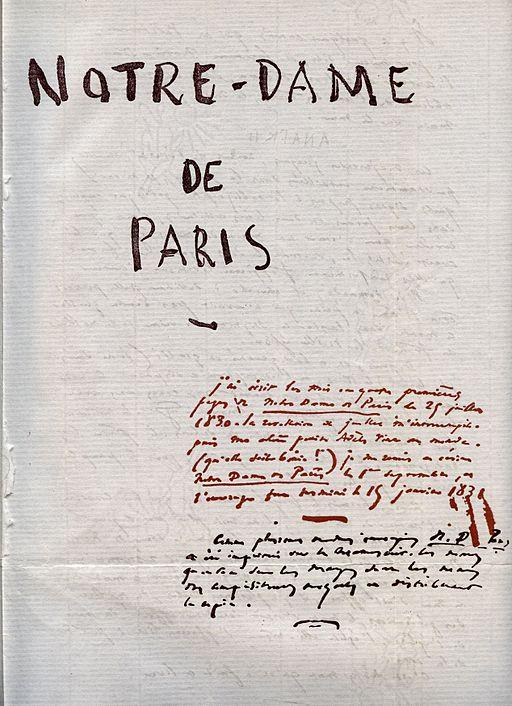 Notre Dame de Paris Victor Hugo Manuscrit 1